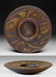 Pacific Northwest Native Art, Chinook Four Maple bowl Turned, carved and dyed… Native American Pottery, Native American Art, Wooden Bowls, Wooden Plates, Wood Turning Projects, Welding Projects, Clay Projects, Haida Art, Auction Projects
