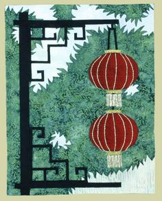 Chinese Lantern Quilt | ... Chinese lanterns in a quilt. The scene was developed from a photo I