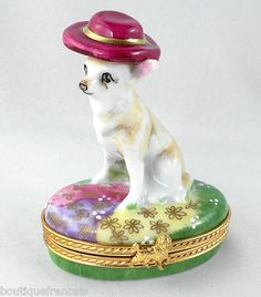 LIMOGES BOX - MEXICAN CHIHUAHUA DOG IN HAT