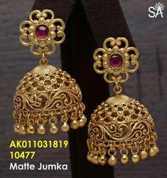 Gold Jhumka Earrings, Jewelry Design Earrings, Gold Earrings Designs, Gold Ring Designs, Gold Bangles Design, Gold Jewellery Design, 1 Gram Gold Jewellery, Gold Temple Jewellery, Gold Jewelry