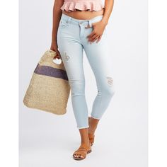 Charlotte Russe Push-Up Destroyed Crop Skinny Jeans ($33) ❤ liked on Polyvore featuring jeans, indigo, white ripped jeans, denim capris, white ripped skinny jeans, ripped jeans and distressed skinny jeans
