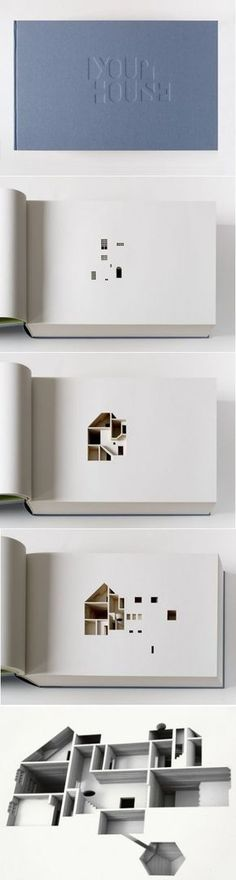Olafur Eliasson, Your House, 2006. 430 x 270 x 105 mm, 908 pages. Artist's book, limited edition of 225 —Commissioned by the Library Council of the Museum of Modern Art in New York, Your House consists of a laser-cut negative of Olafur Eliasson's house in Copenhagen at a scale of 85:1. The book is based on a computer-generated model of the house sliced vertically into 454 even parts.