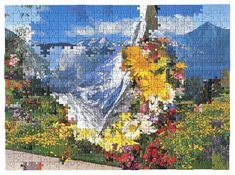 #12 by Kent Rogowski.  Love=Love is a series of collages that were created using pieces of over 60 (500 piece) store bought puzzles. Although puzzle pieces are unique, and can only fit into one place within a puzzle, they are sometimes interchangeable within a brand. These puzzles were cut using the same die, but depict unrelated images.