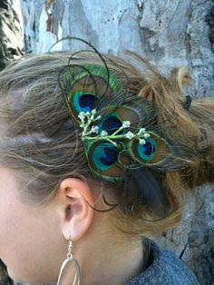 Peacock hair feather