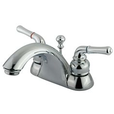 "Kingston Brass Chrome 2 Handle 4"" Centerset Bathroom Faucet with Pop-up KB2621"