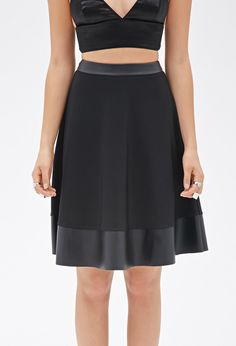 Faux Leather-Trimmed Skirt - Women - 2000099515 - Forever 21 UK