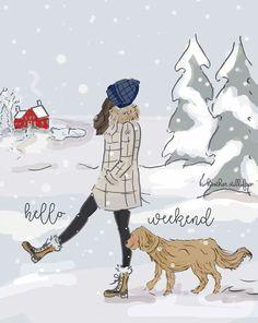 Vrijdag 30 december 2016 * Rose Hill Designs by Heather Stillufsen Hello Weekend, Happy Weekend, Winter Banner, Rose Hill Designs, Image Zen, Illustration Mode, Weekender, Winter Wonderland, Anime