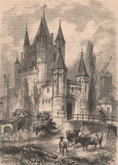Antique print Haarlem Holland gate 1860 Amsterdamse poort
