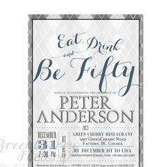 Argyle Men's Adult Birthday Invitation - Eat Drink and be 30th 40th 50th 60th 70th Typography Gray Modern- No.340