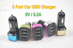 3 Port Car USB Charger Mini Mobile Phone Charger
