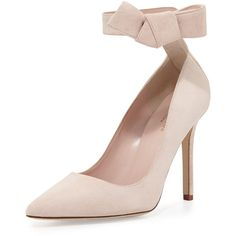 kate spade new york levie suede ankle-strap pump (470 SGD) ❤ liked on Polyvore featuring shoes, pumps, heels, pale blush, kate spade pumps, suede pointy toe pumps, bow pumps, ankle strap pumps and suede ankle strap pumps