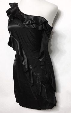 ALYN PAIGE Black Ruffled Little Black Dress Size 11-12 / 1 Shoulder 2900-043 #AlynPaige #LittleBlackDress #PartyCocktail