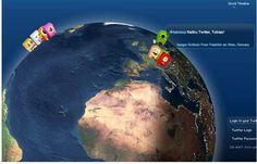 Locatie van tweets mbv Google Earth (al lijkt deze wereldbol niet van Google Earth te zijn)    http://twittearth.com/