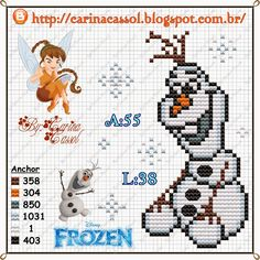 Olaf Frozen perler bead pattern by Carina Cassol