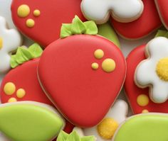 Decorated Strawberry Cookies.  Perfect for the Strawberry Fair!
