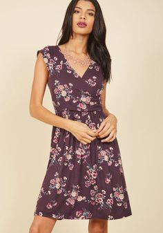 Breezier Said Than Done Floral Dress in Plum | Mod Retro Vintage Dresses | ModCloth.com  Did someone suggest leaving the boardwalk? Sounds like NBD in theory, but truly, this soft knit dress needs to be swayed by the sea for at least a little longer! With a surplice neckline, a gathered waist, and a floral print in lilac, sage, and ivory hues, this purple frock is a breezy 'do'!