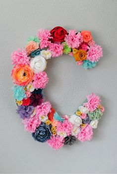 "Custom 24"" Floral Letter // Nursery decor, photo prop, birthday party decor"
