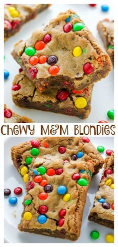 Chewy Brown Butter M&M Blondies Blondies are a like a blonde brownie meets chocolate chip cookie with a crispy edge, and soft chewy center from Serena Bakes Simply From Scratch. Brownie Recipes, Chocolate Recipes, Cookie Recipes, Quick Dessert Recipes, Köstliche Desserts, Delicious Desserts, Yummy Food, Plated Desserts, Healthy Food