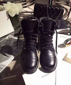 Chanel short boots black leather