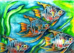 Fishes in the Sea by Luis Mendoza, via Behance