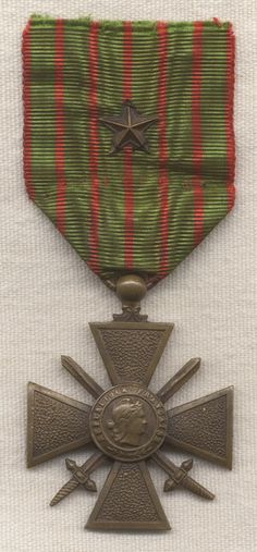 French World War I: Croix de Guerre with Star - A medal often awarded to American fighting men during the war.