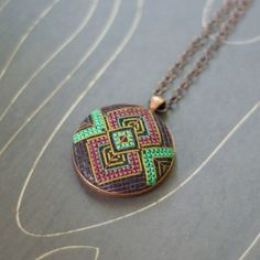 Art Deco geometric cross stitch necklace/ pendant by TheWerkShoppe