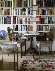 Bunny Mellon - library with layered rugs, antiques, blue willow, transferware, art