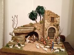 Pin by Anita Fernandes on Christmas floral Christmas Cave, Christmas Crib Ideas, Christmas Wood, Handmade Christmas, Christmas Crafts, Christmas Decorations, Christmas Ornaments, Christmas Houses, Nativity Stable