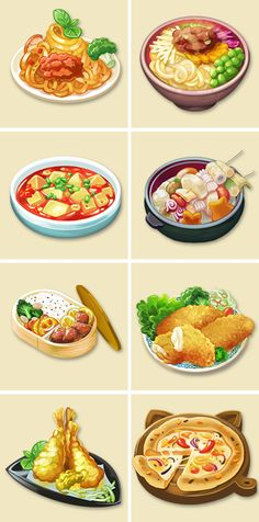 This is a collection of some icons painted for different game products. Cute Food Art, Cute Food Drawings, Food Sketch, Food Cartoon, Watercolor Food, Aesthetic Food, Food Illustrations, Street Food, I Foods