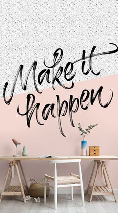 Handwritten by our very own designers, this motivational mural will empower anyone to aim high. The fresh feminine palette of pink accented by the black and white spotted print, means that you achieve two looks in one. This mural offers something for every side of you – whether at home or in the office. #wallpaper #murals #wallmurals #interiorandhome #homeoffice
