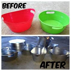 "Take plastic bins from the dollar store and upgrade them using metallic spray paint to give them a ""tin"" finish!  This would be good for parties and such - looks good, inexpensive, they won't get dinged up and won't rust or leak!!"