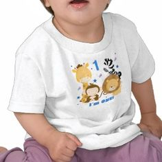 Jungle Safari 1st Birthday T-shirt with cute jungle animals and the text 'I Am One'