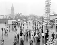 The World's Fair had arrived in New York City twice before, once in 1853 and again in 1939. Here, throngs of people head to the fairgrounds at Flushing Meadow in Queens in 1964. Admission to the extravaganza was only $2 for adults and $1 for children.