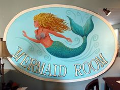 Giant Mermaid sign , custom order, over 6 feet in length, made for Treasure Trove Mini Mall in Hudson, Fl. by me, Debbie Criswell. Ocean, beach decor, mermaid, sea, tropical, sign, custom.