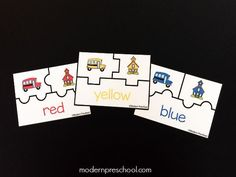 School bus coloring matching printable puzzles from Modern Preschool Preschool At Home, Preschool Curriculum, Preschool Kindergarten, Toddler Preschool, Homeschool, Pre K Activities, Gross Motor Activities, Preschool Activities, Printable Puzzles