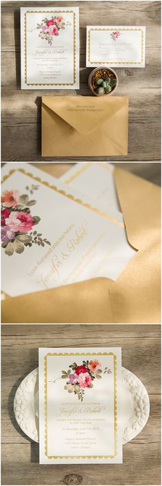 boho themed pink and gold foiled elegant wedding invitations