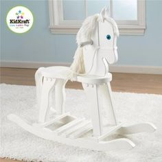 KidKraft Home Indoor Kids Children Fun Play Activity Derby Wooden Craft Rocking Toy Horse White Toddler Boy Toys, Kids Toys, Toddler Girls, Horse Nursery, Hobby Horse, Ride On Toys, Toy Store, Toys For Girls, Kids Furniture