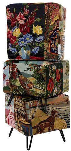 Des poufs cubes | boboboom Repurposed Items, Upcycled Vintage, Repurposed Furniture, Furniture Making, Cool Furniture, Sculpture Textile, Pouf Chair, Deco Boheme, Creation Deco