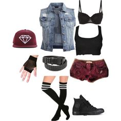 """What inspired me to start a """"Hetalia: Street Fight"""" outfit series- xD Cute Emo Outfits, Wwe Outfits, Casual School Outfits, Pretty Outfits, Girl Outfits, Fashion Outfits, Pretty Clothes, Wrestling Clothes, Wrestling Outfits"""
