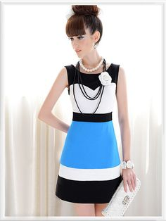 White Blue Black Sleeveless Color Block Princess Dress