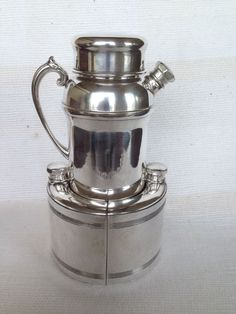 Art Deco Rare Silverplate Cocktail Shaker With Two Wrap-Around Flasks