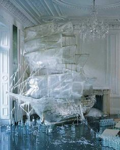 Ice ship sculpture ~ from set designer and art director, Rhea Thierstein  -- here, a set design for Vogue Magazine -- photo by Tim Walker