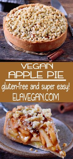 This vegan apple pie with streusel is the perfect fall dessert. It will make your kitchen smell like heaven and sweeten up your day. The recipe is vegan, gluten-free, can be made nut-free and refined sugar-free. Source by lisalazzarini Dessert Sans Gluten, Healthy Dessert Recipes, Pie Recipes, Gluten Free Recipes, Appetizer Recipes, Paleo Dessert, Gluten Free Apple Pie, Vegan Gluten Free Desserts, Vegetarian Desserts