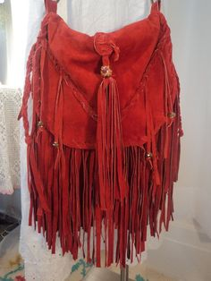 Handmade Red Leather Fringe Boho Bag Hippie Gypsy CrossBody Purse Western tmyers #Handmade #MessengerCrossBody
