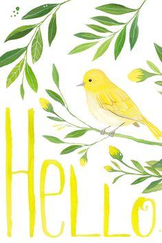 Hello Sign Printable Wall Art | Welcome Home Decor | Yellow Bird Illustration…
