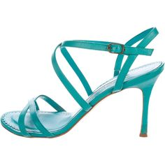 Pre-owned Manolo Blahnik Leather Multistrap Sandals ($125) ❤ liked on Polyvore featuring shoes, sandals, green, manolo blahnik, manolo blahnik sandals, real leather shoes, green leather sandals and leather sandals