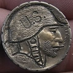 J. ALLEN HOBO NICKEL - U.S. SOLDIER - 1929 BUFFALO NICKEL Hobo Nickel, Paper Cutting, Buffalo, Cactus, Coins, Carving, Rooms, Wood Carvings, Sculptures