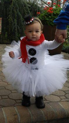 Easy little girl Halloween costume! Little Girl Halloween Costumes, Christmas Costumes, Christmas Tutu Dress, Baby Girl Halloween, Tutu Outfits, Girl Outfits, Snowman Costume, Frosty The Snowmen, Christmas Photos