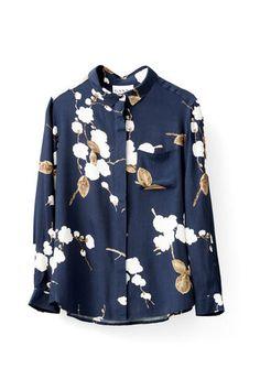 Ryder Crepe Shirt, Navy Japanese Flower