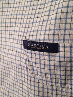 Nautica Men's LG 100% Cotton Blue/ White Checked Button Front Short Sleeve Shirt #Nautica #ButtonFront